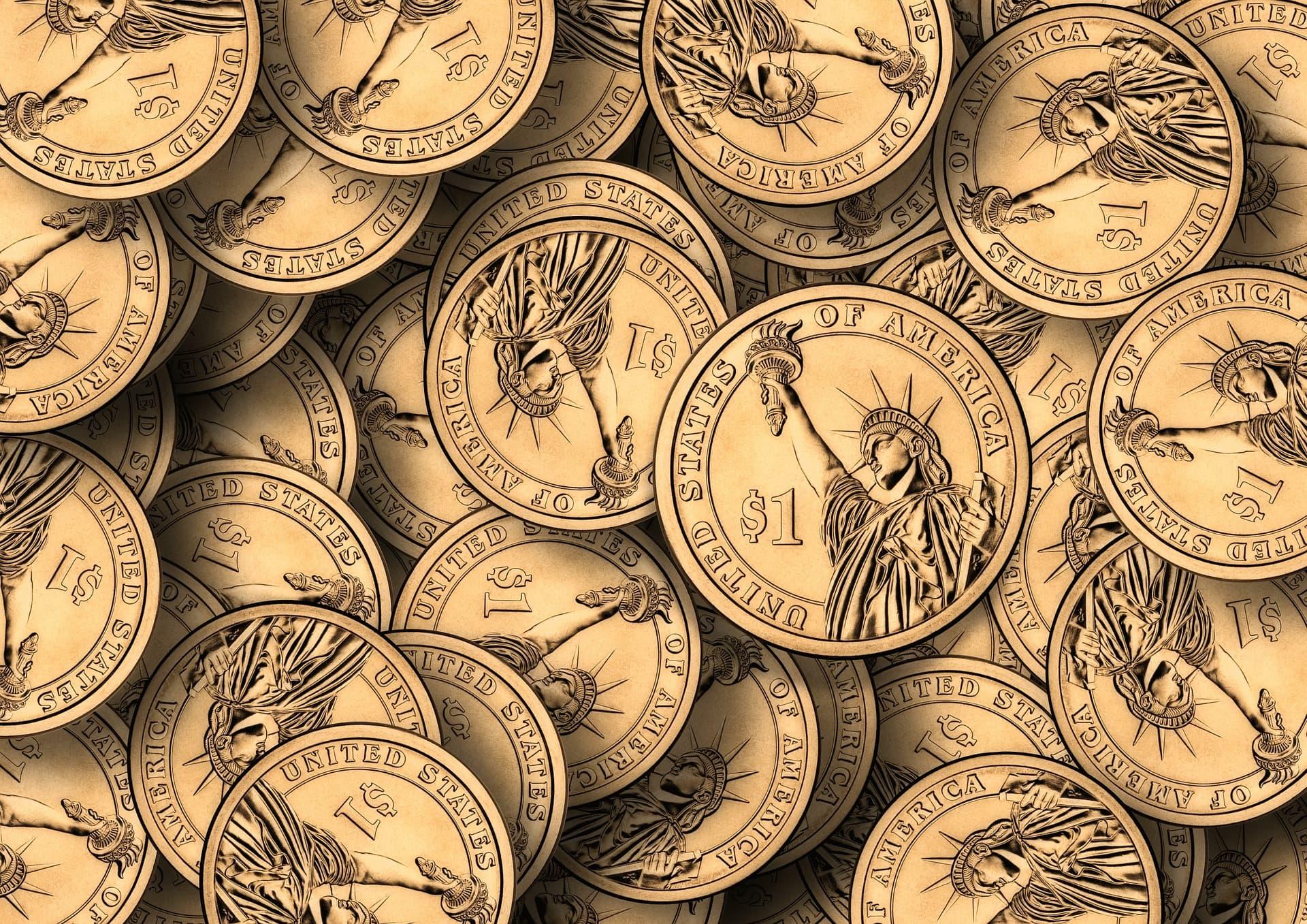 Imagen de monedas de un dollar