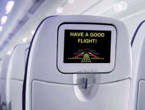 Pantalla en el avión con el mensaje de buen vuelo