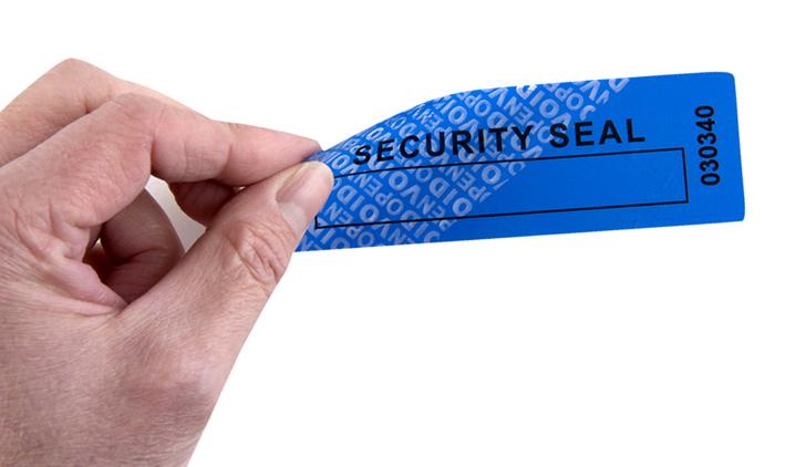 Etiqueta de seguridad sin residuo.