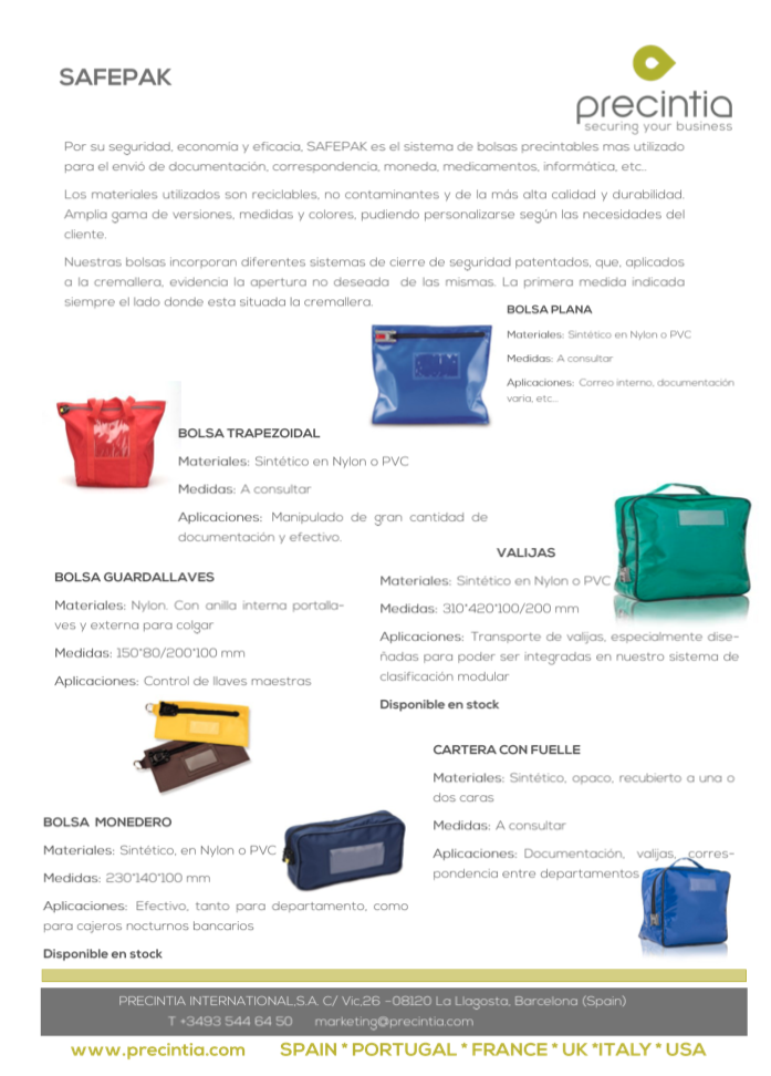Red trapezoidal security bag